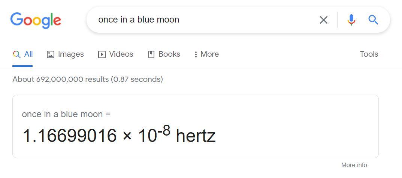 Google search tricks - blue moon