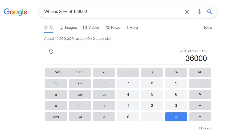 Google search tricks - calculator