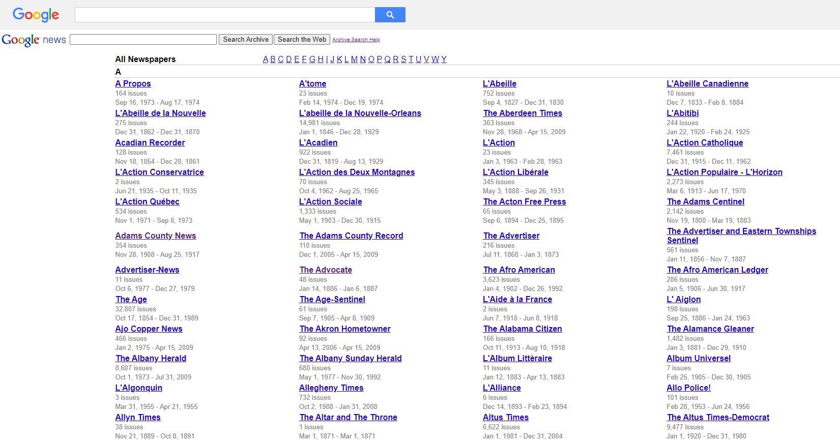 Google search tricks - newspapers