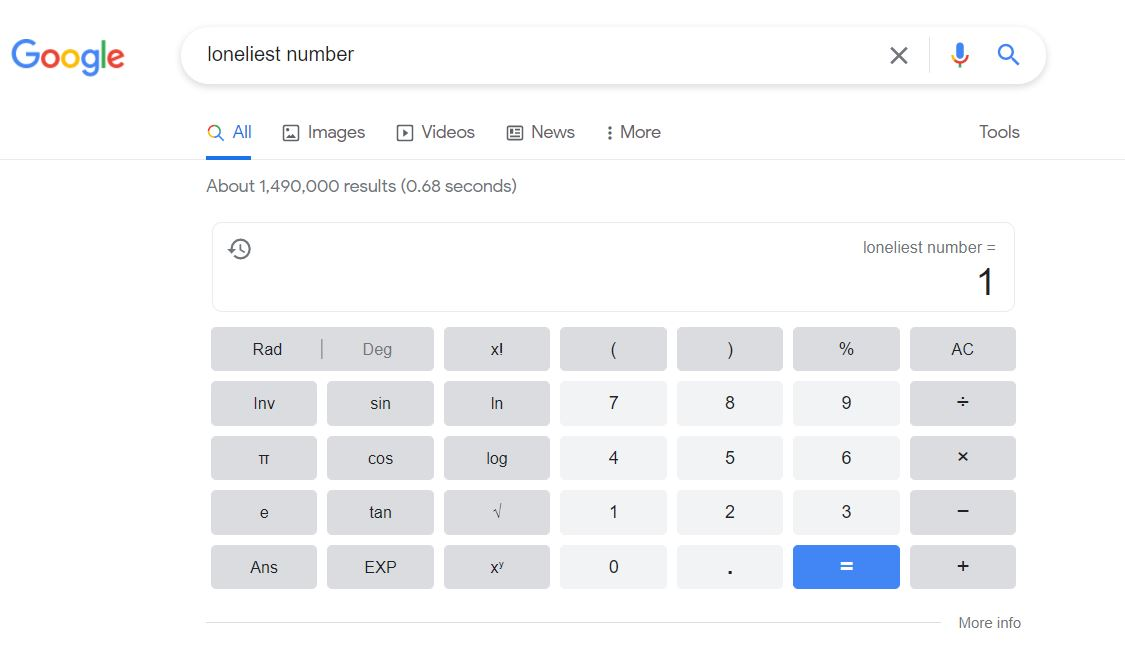 Google Search Tricks - The Loneliest Number